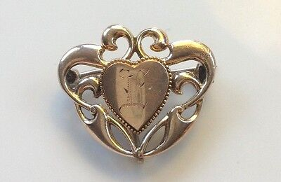 Victorian E Monogrammed Heart  Fob Pin or Lavalier Pendant Gold Filled