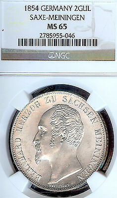 German States Saxe-Meiningen 1854 Two Gulden Coin NGC MS 65 F.STG Thaler Deutsch