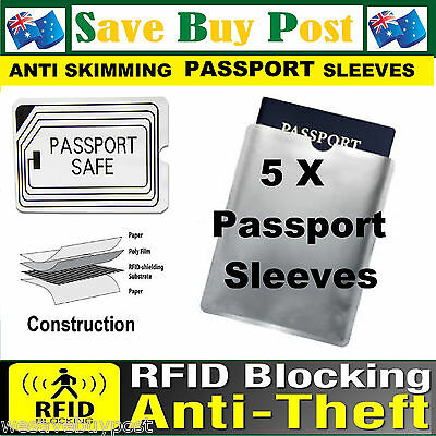 5 x RFID Secure Sleeve Passport Wallet Blocking Anti Scan Skimming ID Protector