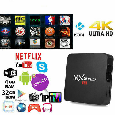 MXQ PRO 4K 4GB Smart IPTV BOX XBMC Android 7.1 Penta Core 64bit WiFi 32GB MiniPC