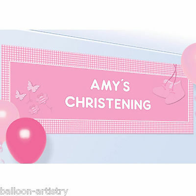1.2m Pink Girl's Booties Cute Christening Party Personalised Banner