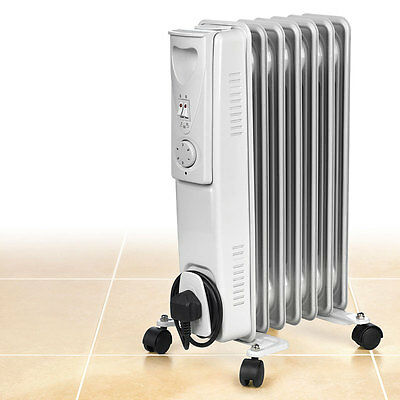 Portable 7 Fin 1500w Electric Oil Filled Radiator Heater With Thermostate