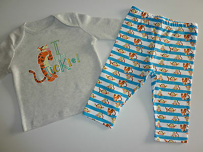 "Disney TIGGER ""T is for TICKLE!"" Cute Little PJ's NEW"