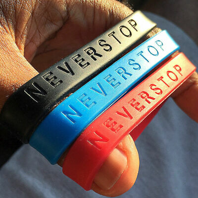 NEVERSTOP - Band Silicone Rubber Bracelet Wristband. Adult Size Brand New
