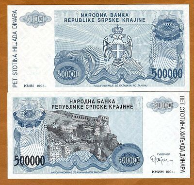Croatia, Knin 500000 (500,000) Dinara, 1994, Pick R32, No Serial Numbers, UNC