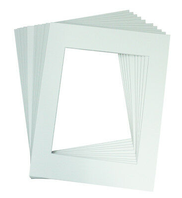 Set of 50 8x10 WHITE Picture Mats Mattes with White Core for 5x7+Backing +Bags