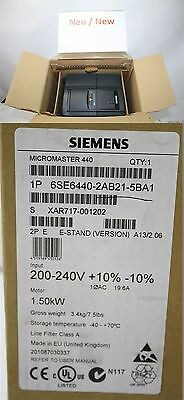 SIEMENS MICROMASTER 440 6se6440-2ab21-5ba1 Frequency Converter 1,5 kW