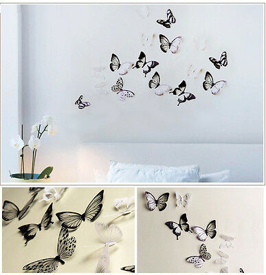 18pcs 3D Black/White Butterfly Crystal Decor Wall Stickers Decor Wall Decals h