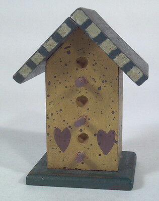 """Decorative Wood 3"""" Country Miniature Birdhouse Decor With Painted Hearts"""
