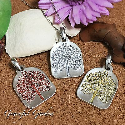 NL0427 Graceful Garden Vintage Style Silvery Tree Of Life Pendant Necklace 60cm