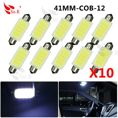 10X 6000K White 158 41MM COB 12-SMD Dome Interior LED License Plate Light bulbs