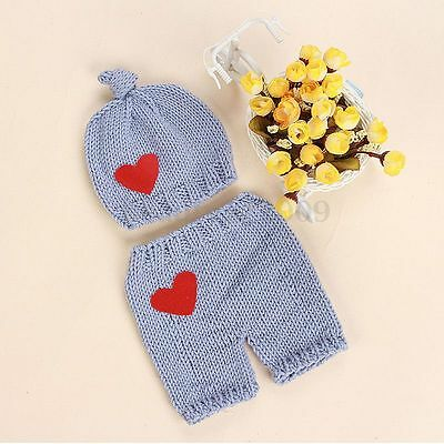 Newborn Baby Boys Girls Crochet Knit Costume Photo Photography Prop Outfits