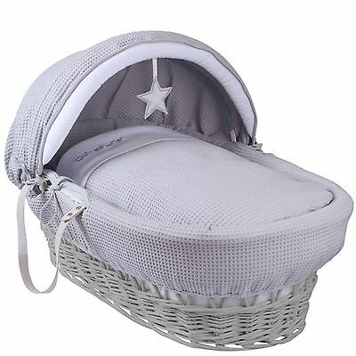 Clair De Lune Padded Grey Wicker Moses Basket Silver Lining Grey
