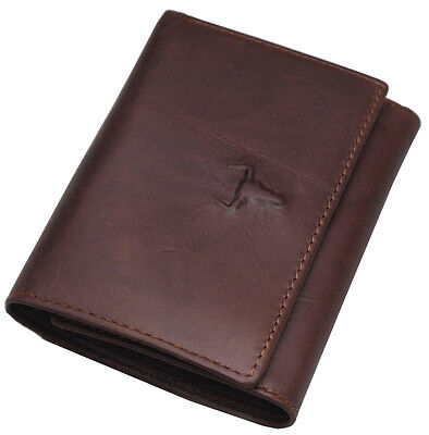 Men's Leather Wallet Trifold 8 Credit Card Holders Coin Zippered Pocket Purse