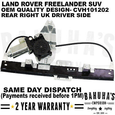 For Land Rover Freelander Mk1 Rear Right Side Window Regulator With 2 Pin Motor