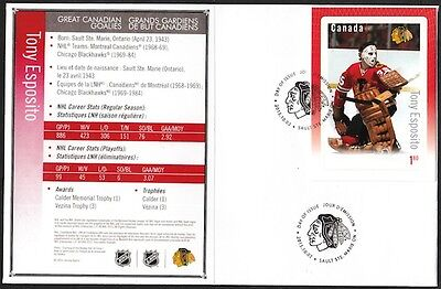 Canada # 2874 - Tony Esposito Hockey Card Stamp On First Day Cover, Only 10 Made
