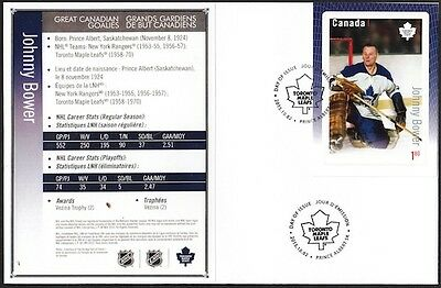 Canada # 2875 - Johnny Bower Hockey Card Stamp On First Day Cover - Only 10 Made
