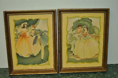 Vintage Print of Victorian Romantic Couple Litho Donald Art Co. Pair of Frame