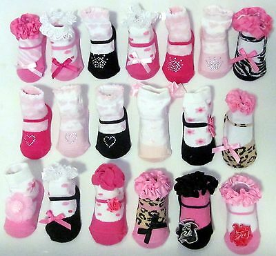 Baby Mary Jane Socks- Infant 0-6 months Shoe Tights Baby Shower Gift- 19 Designs