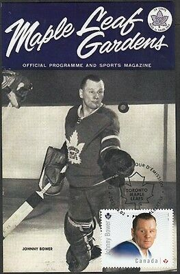 CANADA # 2869.2 - JOHNNY BOWER HOCKEY STAMP on MAXIMUM (POST) CARD, ONLY 8 MADE