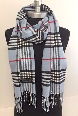 "New Soft 100% Cashmere Scarf Light Blue Check Plaid Scotland Wool Wrap ""A507"""