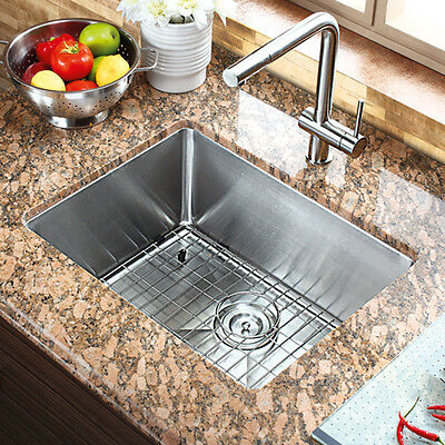 """21"""" x 16"""" Single Bowl Stainless Steel Hand Made Undermount Kitchen Sink COMBO"""