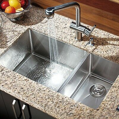 """30"""" x 16"""" Double Bowl Stainless Steel Hand Made Undermount Kitchen Sink COMBO"""