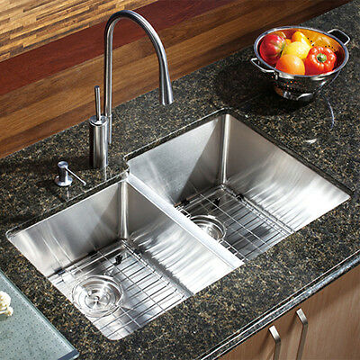 """29"""" X 16"""" Double Bowl Stainless Steel Hand Made Undermount Kitchen Sink COMBO"""