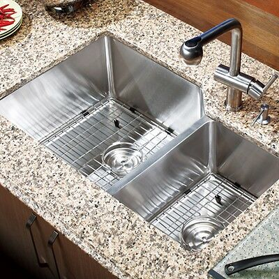 """30"""" x 18"""" Double Bowl Stainless Steel Hand Made Undermount Kitchen Sink COMBO"""