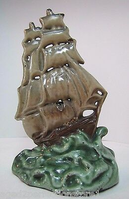 Antique Cast Iron & Porcelain Sailing Ship in Waves Doorstop unusual ornate art