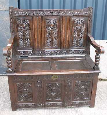 1900's Carved Oak Settle with decorative panels and Lift up Lid. Great storage • £450.00