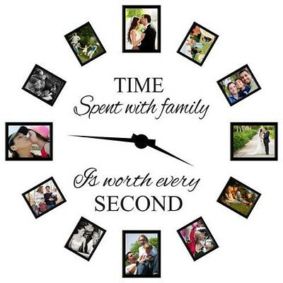 TIME SPENT WITH FAMILY Wall Quote Home Decal Vinyl Sticker DIY Clock Photo Decor