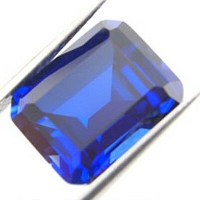 AAA Bright Lab Created Blue Sapphire Emerald Cut Octagon Faceted 5x3-22x16mm