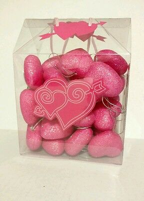 Set of 30 Heart Christmas Valentine Holiday Ornaments Pink Glitter Decorations