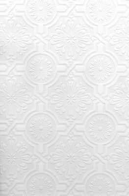 Faux Tin Ceiling Tile Textured PAINTABLE ORNATE TILES Wallpaper 497-32817