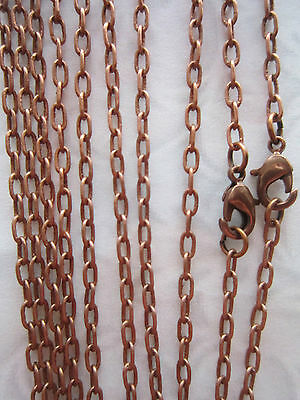 """Brass Antique Copper Chain Necklaces With Lobster Jewellery Clasp Making 5X 21"""""""