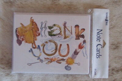 LEANIN TREE Western Theme Thank You ~Pack of 8 Notecards #35055 Blank Inside~