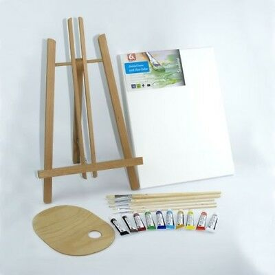 "Set 500mm 20"" Wooden Easel Acrylic Oil Watercolour Paints Brushes Wooden Palette"