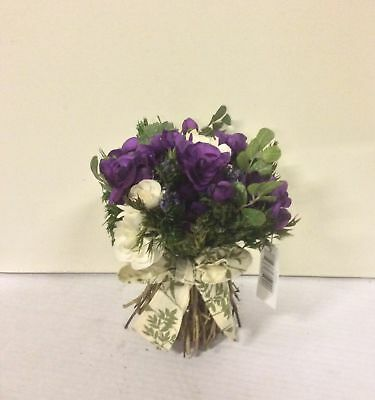 New Design 21cm Artificial Silk Flower Bouquet Rose & Twig Arrangement Purple