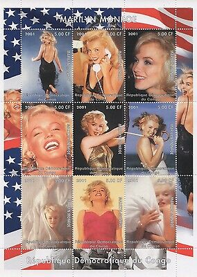 Marilyn Monroe Hollywood Movie Legend Congo 2001 Mnh Stamp Sheetlet