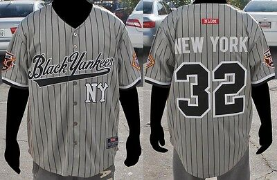 NLBM NEGRO LEAGUE Baseball Jersey - NY Black Yankees Gray -  74.99 ... 169777afe07