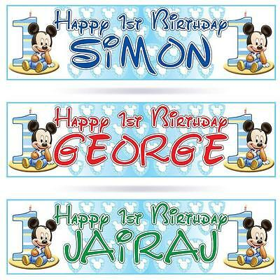 "2 PERSONALISED 1st BIRTHDAY BABY MICKEY MOUSE BIRTHDAY BANNER 36 ""x 11"" FIRST"