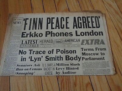 Chicago Herald American Newspaper WWII March 12 1940 Finn Peace Agreed