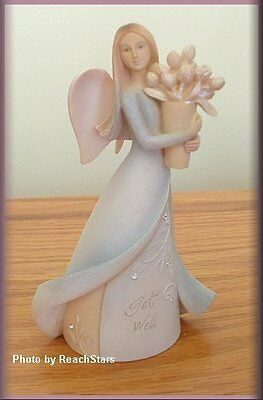 Get Well Mini Angel Figure By Enesco Foundations 4.25 Inches High Free U.s. Ship
