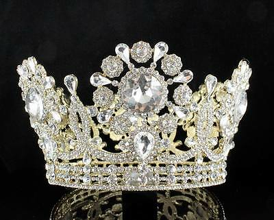 """3.75"""" High Beauty Queen Crystal Rhinestone Full Tiara Crown Pageant T2132G Gold"""