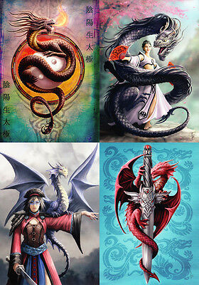 """Anne Stokes Greeting Cards: Set of 4 """"Eastern Promise"""" Series * NEW Dragon"""