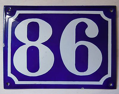 Large ANTIQUE FRENCH STEEL ENAMEL DOOR GATE HOUSE PLAQUE SIGN Blue Number 86