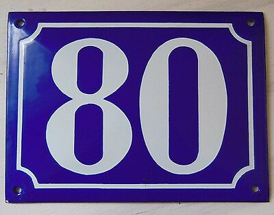 Large ANTIQUE FRENCH STEEL ENAMEL DOOR GATE HOUSE PLAQUE SIGN Blue Number 80