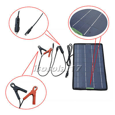 12V 10W PV Solar Panel Trickle Battery for Charger Car Boat Charge Power Supply