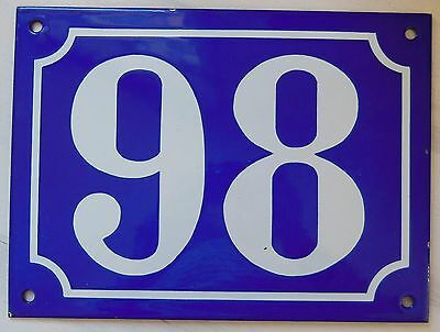 Large ANTIQUE FRENCH STEEL ENAMEL DOOR GATE HOUSE PLAQUE SIGN Blue Number 98